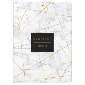 elegant chick white marble faux gold geometric clipboard