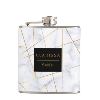 elegant chick white marble faux gold geometric hip flask