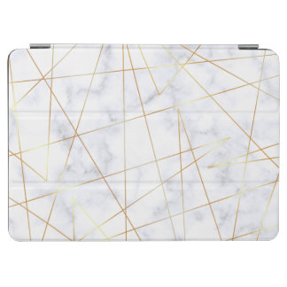elegant chick white marble faux gold geometric iPad air cover