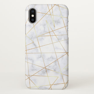 elegant chick white marble faux gold geometric iPhone x case