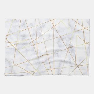 elegant chick white marble faux gold geometric tea towel
