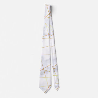 elegant chick white marble faux gold geometric tie