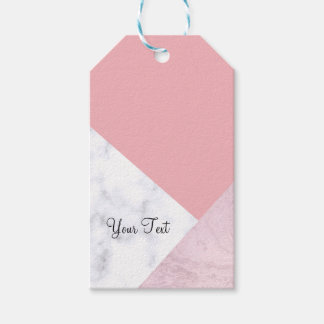 elegant chick white pastel pink marble geometric gift tags