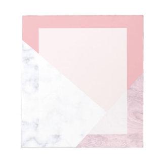 elegant chick white pastel pink marble geometric notepad