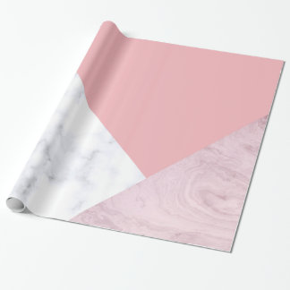 elegant chick white pastel pink marble geometric wrapping paper
