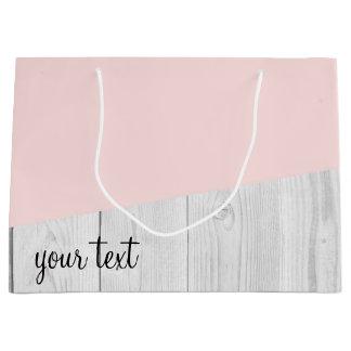 elegant chick white pastel pink wooden geometric large gift bag