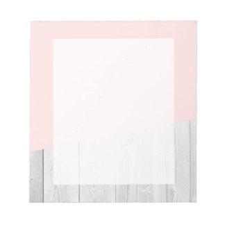 elegant chick white pastel pink wooden geometric notepad