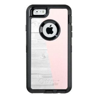 elegant chick white pastel pink wooden geometric OtterBox defender iPhone case