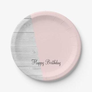elegant chick white pastel pink wooden geometric paper plate