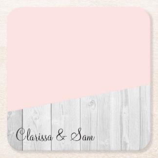 elegant chick white pastel pink wooden geometric square paper coaster