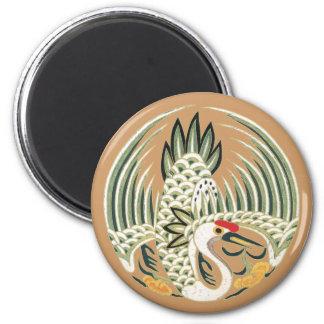 Elegant Chinese Bird Good Luck Symbol 6 Cm Round Magnet