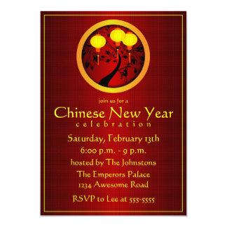 Elegant Chinese New Year Monkey with Gold Lanterns 13 Cm X 18 Cm Invitation Card