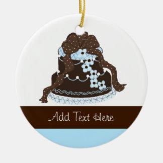 Elegant Chocolate and Blue Designer Cake Ceramic Ornament