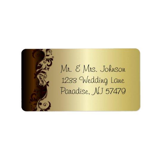 Elegant Chocolate Brown & Gold Florid Wedding Label