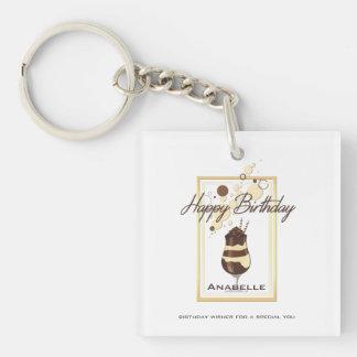 Elegant Chocolate Vanilla Drink Birthday Key Ring