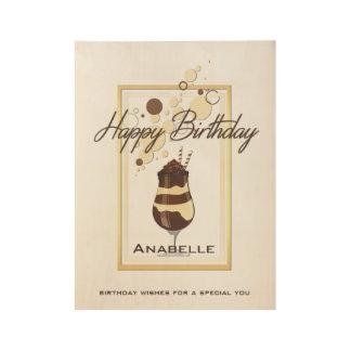 Elegant Chocolate Vanilla Drink Birthday Wood Poster