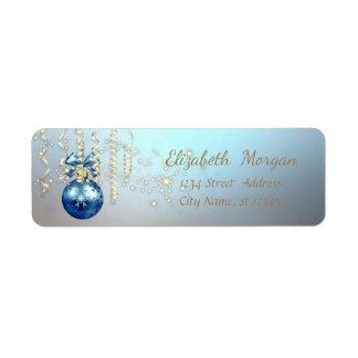 Elegant Christmas Ball ,Sparkle,Blue Return Address Label