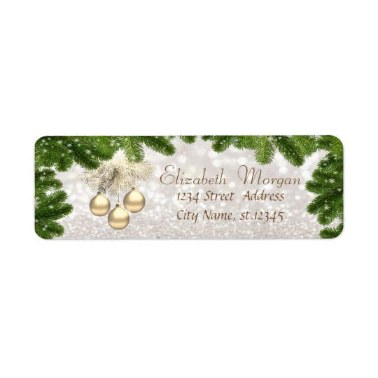 Elegant,Christmas Balls ,Glittery Bokeh Return Address Label