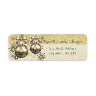 Elegant ,Christmas Balls,Snowflakes,Glittery Return Address Label
