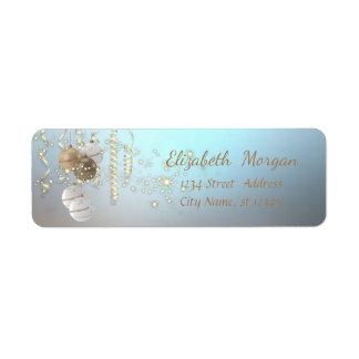 Elegant Christmas Balls ,Sparkle,Blue Return Address Label