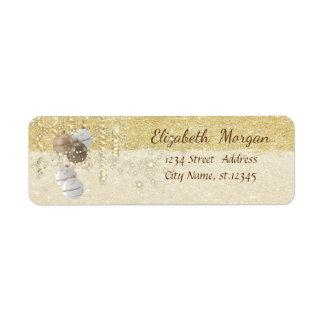 Elegant Christmas Balls ,Sparkle, Gold Glittery Return Address Label