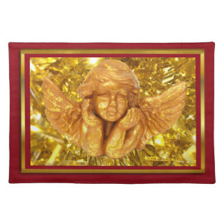 ELEGANT CHRISTMAS BEAUTIFUL GOLDEN ANGEL GIFTS PLACEMAT