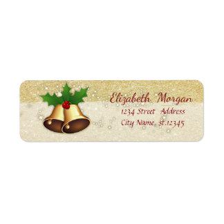 Elegant Christmas Bells,Holly Branches ,Glittery Return Address Label