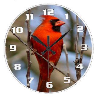 Elegant Christmas bird Red cardinal Beautiful Large Clock