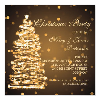 Elegant Christmas Bokeh Tree Holiday Party Gold Card