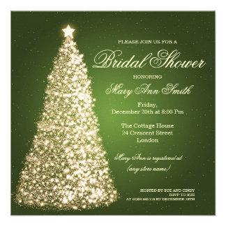 Elegant Christmas Bridal Shower Gold Green Custom Invite