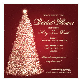 Elegant Christmas Bridal Shower Gold Red Personalized Announcement