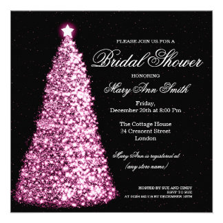 Elegant Christmas Bridal Shower Pink Personalized Announcements