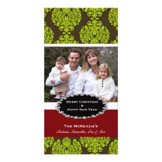 Elegant Christmas Brown Damask Custom Photo Card