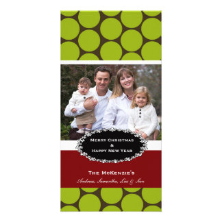 Elegant Christmas Brown Damask Personalized Photo Card