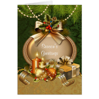 Elegant Christmas Candles and Ornaments Card