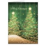 Elegant Christmas Cards Sparkling Trees Green