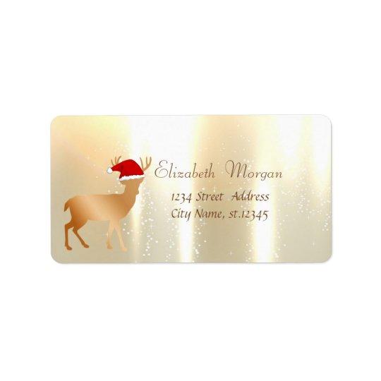 Elegant ,Christmas, Deer  With Santa Hat Label