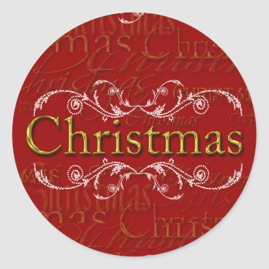 Elegant Christmas Design Custom Christmas Stickers