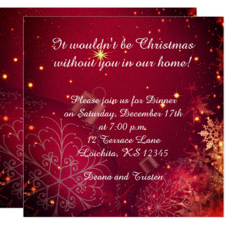 Elegant Christmas Dinner Square Invitation