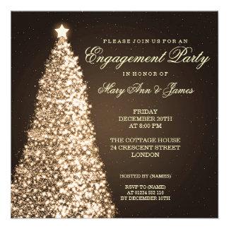 Elegant Christmas Engagement Party Gold Custom Announcements
