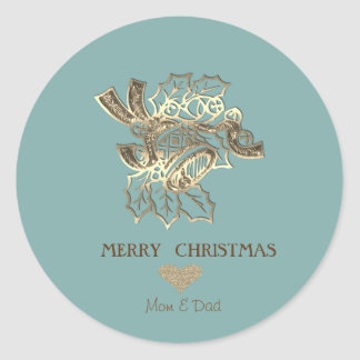 Elegant Christmas Faux Gold Bell Classic Round Sticker