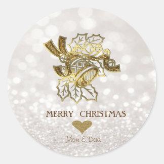 Elegant Christmas Fayu Gold Bell,Glittery Bokeh Classic Round Sticker