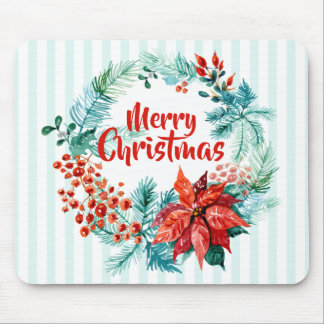 Elegant Christmas Floral Wreath | Mousepad