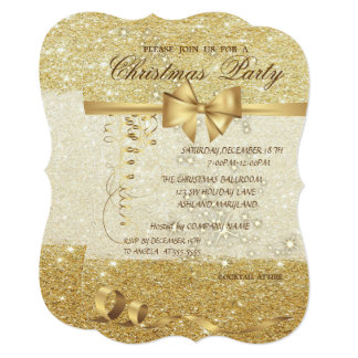 Elegant Christmas,Glittery, Corporate Party Card