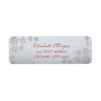 Elegant Christmas Glittery  Snowflakes Return Address Label