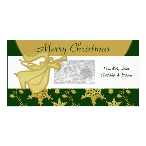 Elegant Christmas gold angel holiday greeting Photo Card