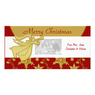 Elegant Christmas gold angel holiday greeting Personalized Photo Card
