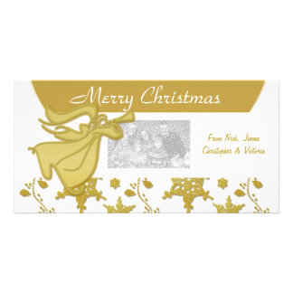 Elegant Christmas gold angel holiday greeting Photo Cards