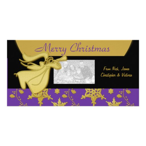 Elegant Christmas gold holiday greeting Photo Greeting Card