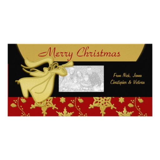 Elegant Christmas gold holiday greeting Customized Photo Card